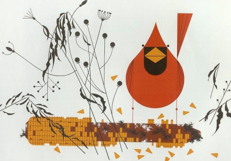 """Cardinal On Corn"" by Charley Harper. 1970."