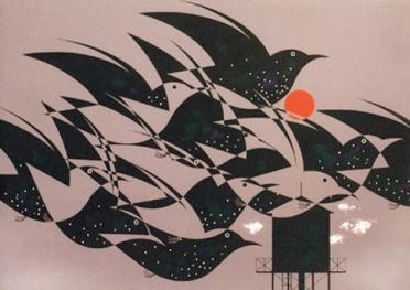Flock of birds by Charley Harper