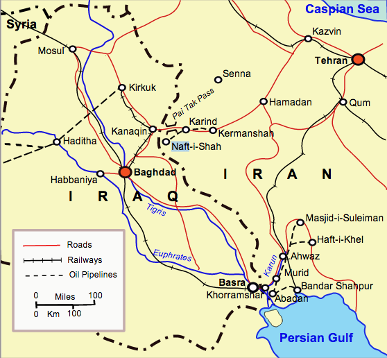 Map of Iraq and western Iran in 1941.  Author: Kirrages (http://goo.gl/8JnhAi)