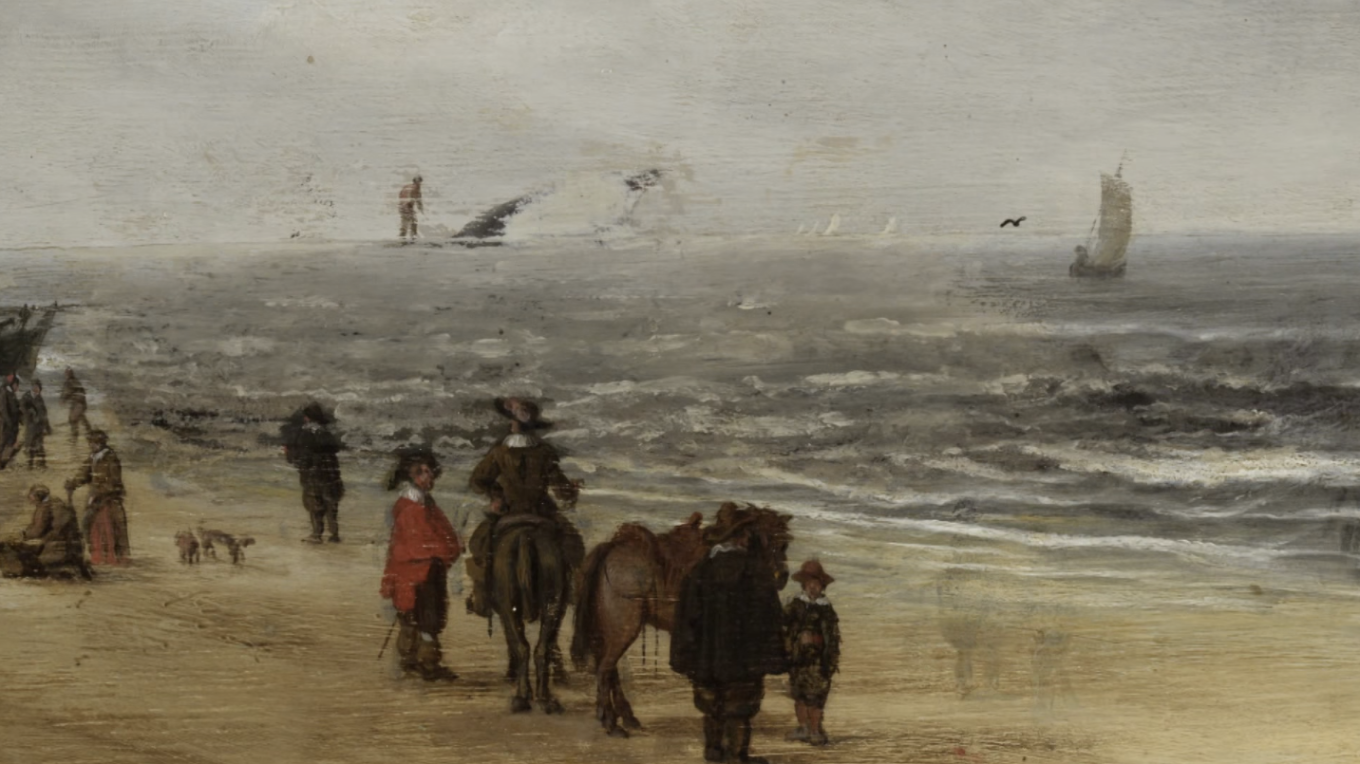 Scheveningen Sands by Hendrick van Anthonissen detail showing figure uncovered midway through restoration.
