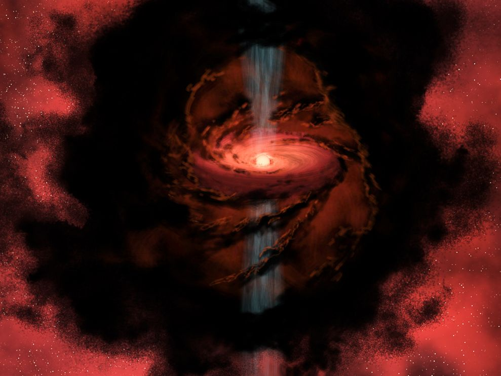 Polar jets blast outward from this protostar