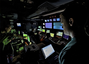 A view of the Okeanos Explorer Control Room while ROV operations are underway. Photo: NOAA
